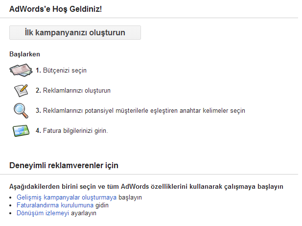 Google Adwords İlk Kampanya